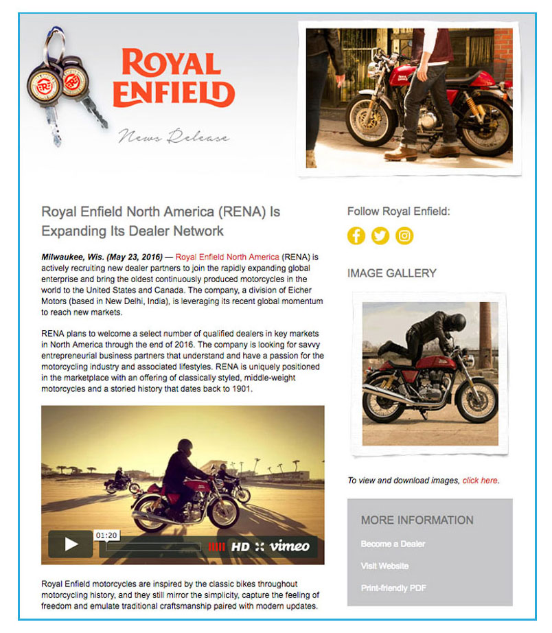 Royal Enfield News Release